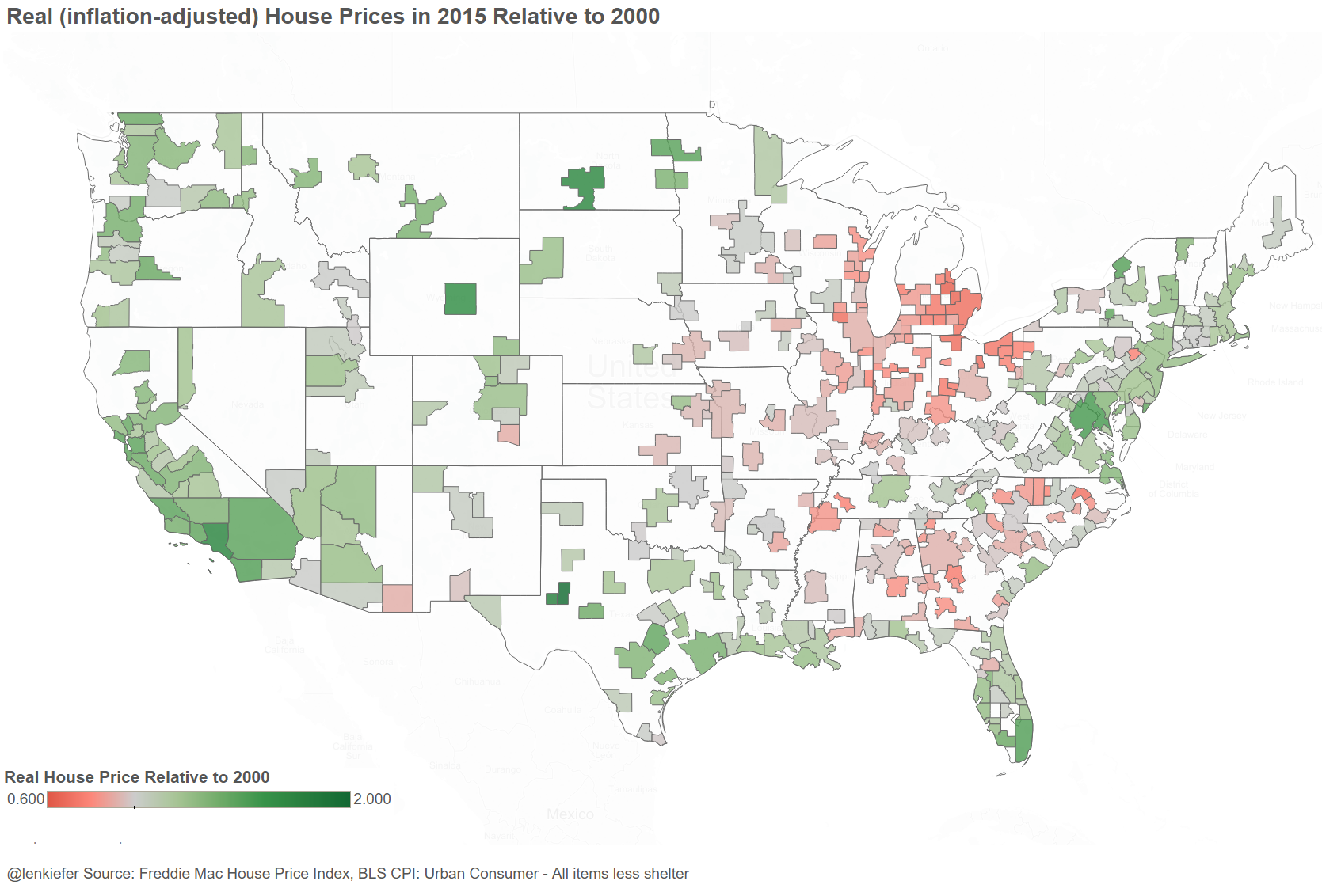 Real House Prices And Population Growth - Map of us population change 2000